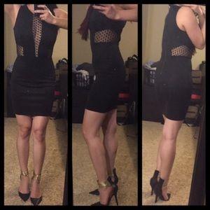 Black Plunge Mesh Mini Dress